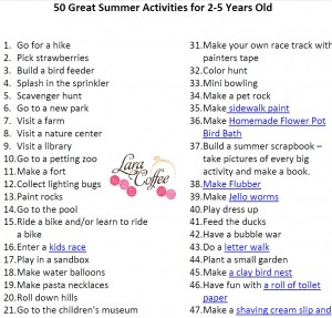 Download 50 Great Summer Activities for 2-5 years old